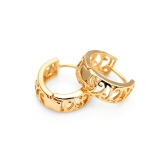 1Pair 18K Gold Plated Vintage Retro Hollow Round Wide Hoop Earrings Jewelry Gift for Women Lady