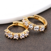 1Pair Clear Crystal Zircon 18K Gold Plated Cross Drop Dangle Pendant Hoop Ear Earrings Jewelry Gift for Women Lady
