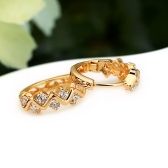 1Pair Clear Crystal Zircon 18K Gold Plated Wave Hollow Hoop Earrings Jewelry Gift for Women Lady