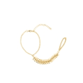 Fashion Rib Bangle Bracelet Slave Chain Link Finger Ring Hand Harness Gold