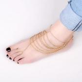 Fashion Multi Tassel Chain Foot Chain Harness Toe Ring Barefoot Sandal Beach