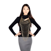 Sexy Laday Fashion Multi Layers Gold Body Belly Waist Chain Link Chic Waves Long Necklace