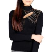 Fashion Punk Jewelry Gold Tone Multi Tassel Chain Shoulder Necklace Body Chain