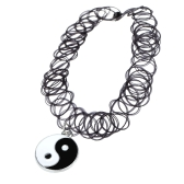 Vintage Stretch Tattoo Choker Necklace Retro Elastic Collar Bagua Tai Chi Pendant Jewelry Chinese Style Accessories