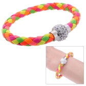 Fashion Jewelry Accessory Leather Magnetic Buckle Rhinestone Crystal Bracelet Bangle Wristband