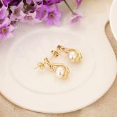 Copper Alloy 18K Gold Plated Glass Pearl Zircon Drop Dangle Earrings Jewelry Gift for Women Lady