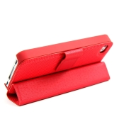 Magnetic Adsorption Folio Smart Flip Case Skin Stand Cover for iPhone 4 4S Multifunctional Holder Headphone Bobbin Winder Red