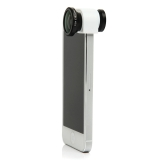 3 in 1 Phone Photo Camera Lens 180° Fisheye Macro 0.67X Wide Angle for iPhone 5 5S White