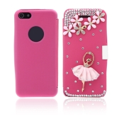 Flip Leather Bling Flower Case Cover PU Leather for iPhone 5 5s Rose