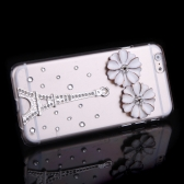高級クリア透明キラキラ ラインス トーン ダイヤモンド銀花エッフェル タワー ケース ハード バック カバー保護用クリスタル シェル アップルの iPhone 6