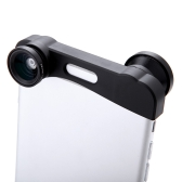 Phone Photo Lens 180° Fisheye Camera 0.67X Wide Angle 10X Macro Set with Bag for iPhone 6 Plus