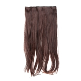 High Temperature Long Silk Slightly Curled Hair Slice Extension with 5 BB Clip-on Simulation Lace Wig
