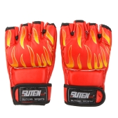 PU Leather MMA Professional Flame Muay Thai Training Sanda Mitts Sandbag Punching Sparring Boxing Gloves Half Finger