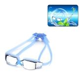 ファッションユニセックスウォータースポーツアンチフォグUVシールド保護耳と防水アイウェアゴーグル水泳メガネ デュアルヘッドストラッププラグ