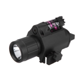 Compact Tactical Flashlight Torch & Red Laser Sight Combo with Rail Mount for Hunting Game Outdoor