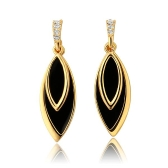 Elegant Women Girl CZ Diamond Black Drop Dangle Earring Gold-Electroplated Fashion Jewelry Summer Style for Party/Wedding/Daily