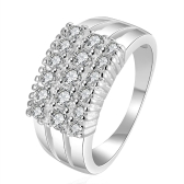 Luxury Elegant Wedding Engagement Shining CZ Diamond Ring #8 Silver-Plated Fashion Women Girl Jewelry Christmas Gift