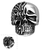 Polished 316L Stainless Steel Moter/Bikers Ring Skull Skeleton Antique Silver Wide Cast Gothic Punk Rock Style Men