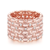 Exquisite Fashion Shining Rhinestone Opal Bangle Bracelet Rose Gold-Electroplated Fine Women Girl Jewelry for Wedding Engagement Party Banquet