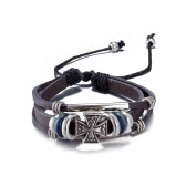 Vintage Fashion Alloy Metal Cross Charm Strap Leather Wristband Unisex Bracelet