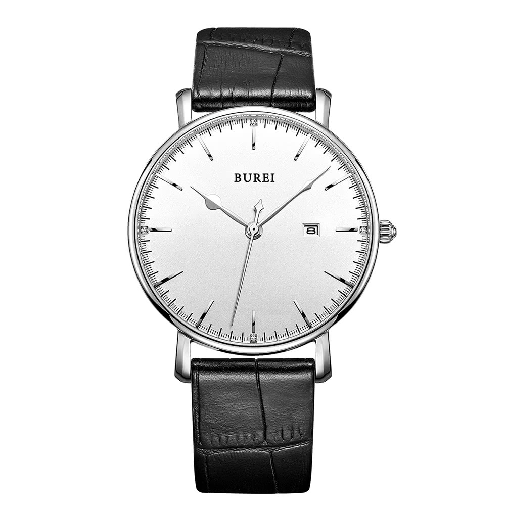 $14 Off BUREI 2017 Luxury Brand Genuine Leather Quartz Men Watches Casual 30M Water-resistant Man Business Dress With Calendar,free shipping $15.99