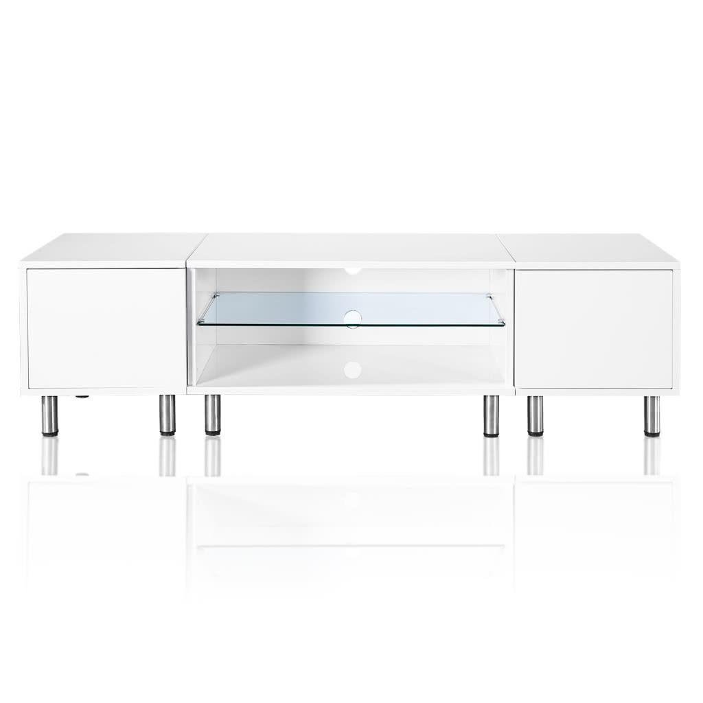 Table tv avec led blanc brillant 160 - Table de tv led ...