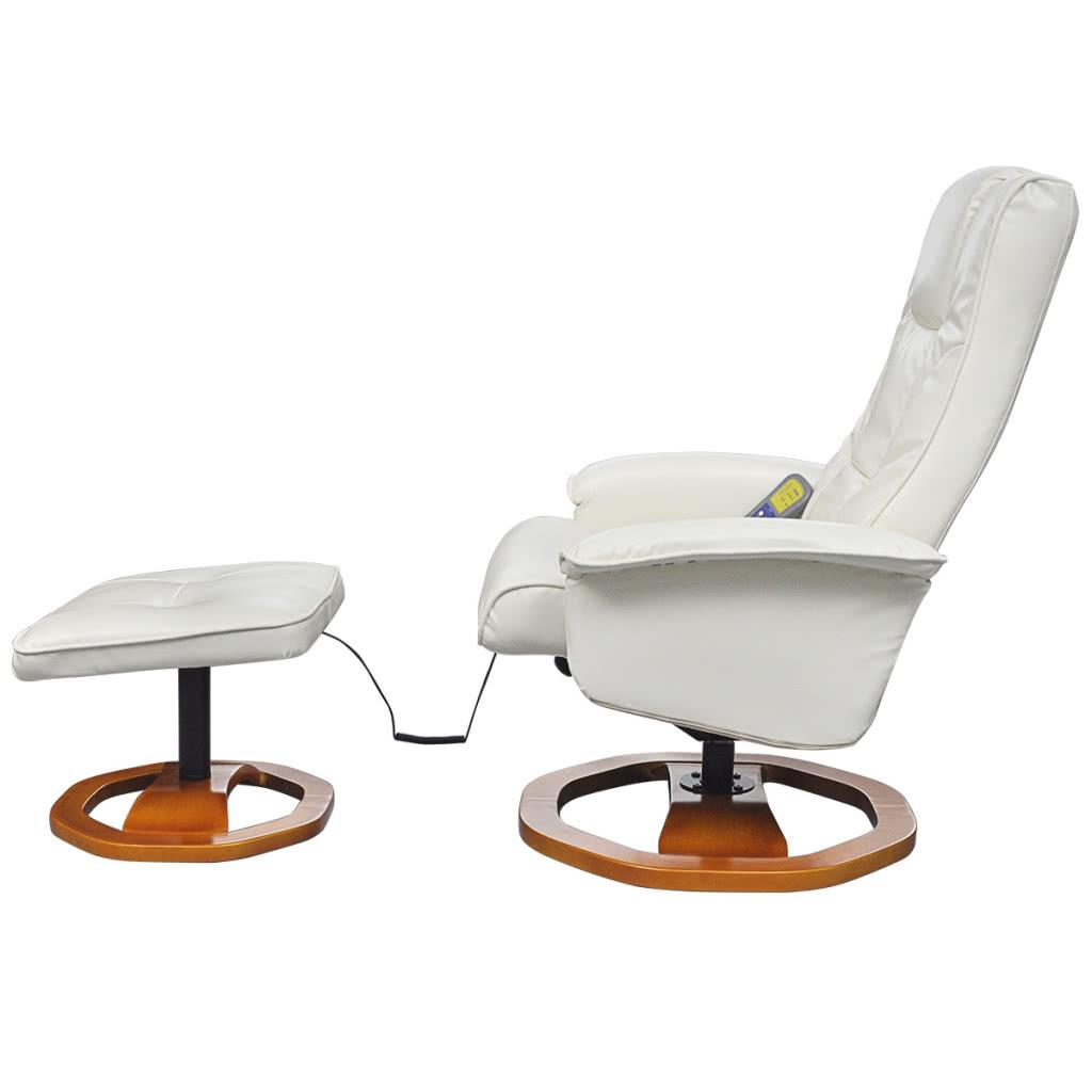 Chaise de massage en cuir artificiel lectrique blanc avec - Chaise massage electrique ...