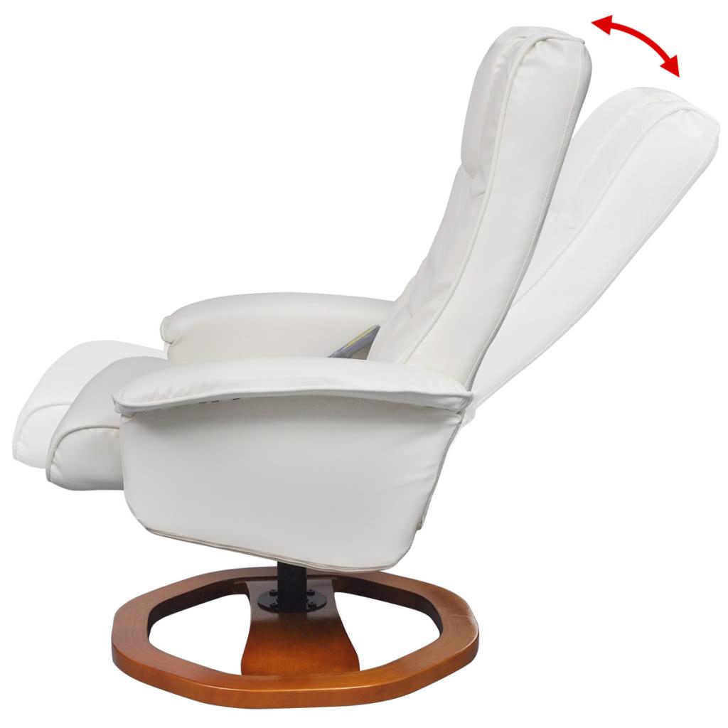 Chaise de massage en cuir artificiel lectrique blanc avec - Chaise de massage electrique ...