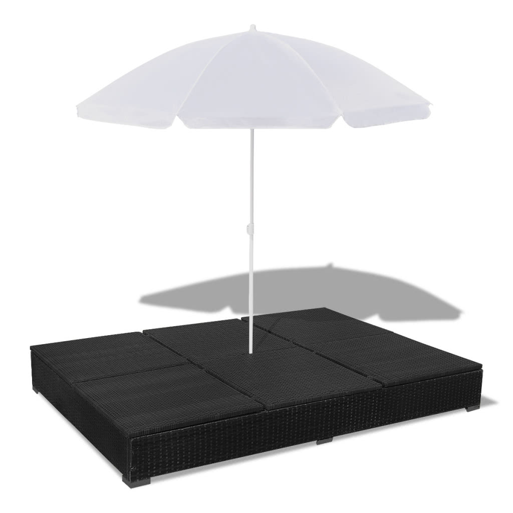 luxury outdoor poly rotin sun lounger 2 personnes avec. Black Bedroom Furniture Sets. Home Design Ideas