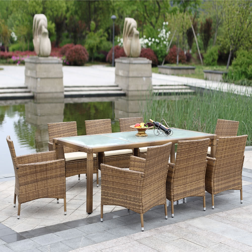 Only Us 316 99 C H0069ca Ikayaa 9pcs Rattan Outdoor Patio Dinning Table Set Cushioned