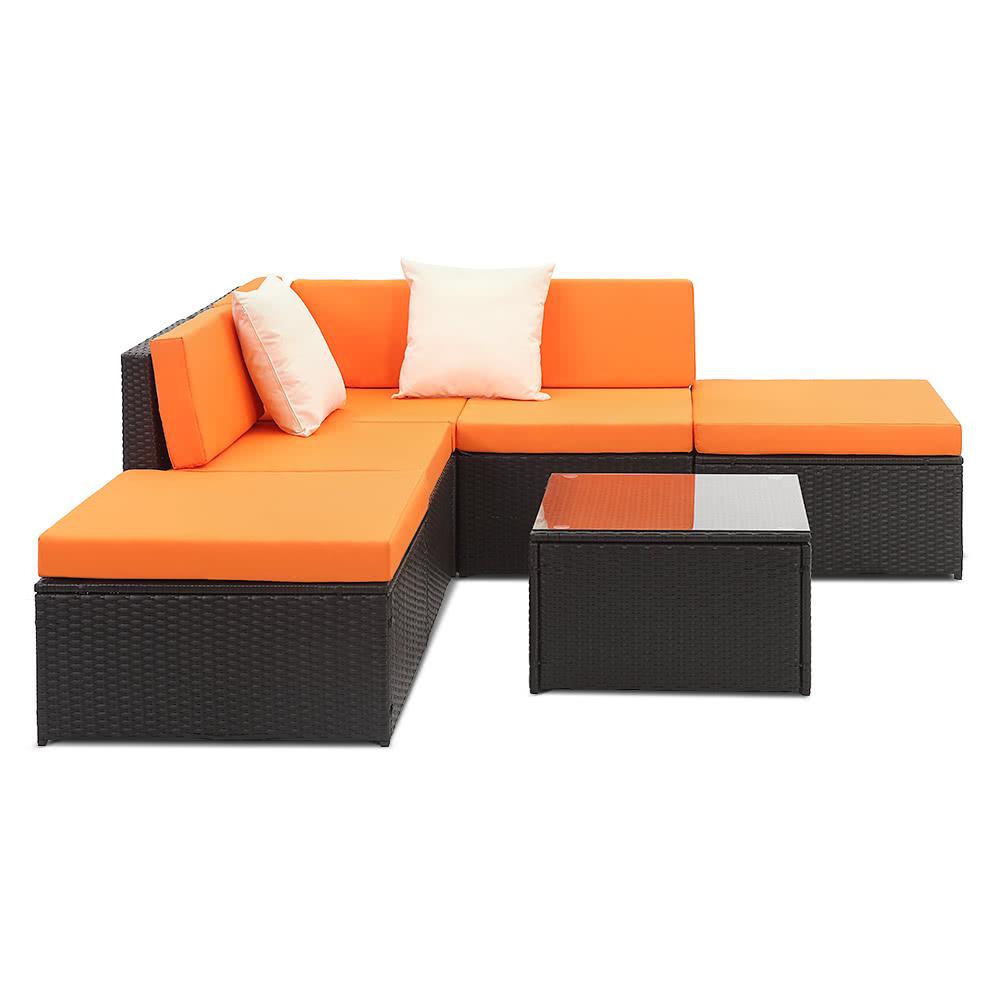 ikayaa 6pcs cushioned rattan patiom beln set garten. Black Bedroom Furniture Sets. Home Design Ideas