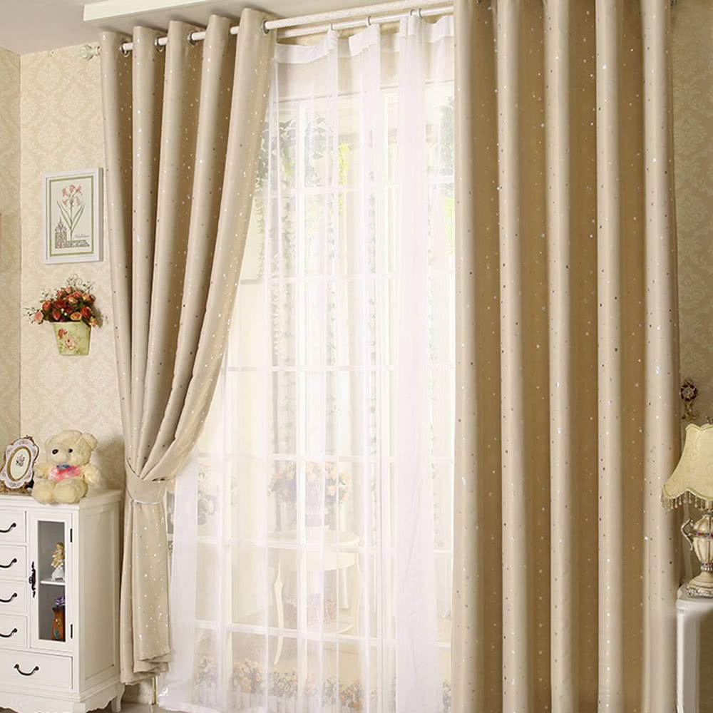 anself 2pcs 100250cm modern punching grommet blackout curtain sales online beige tomtopcom