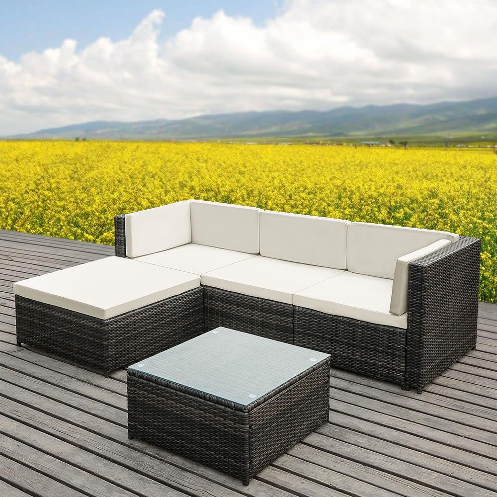 Rattan Garden Furniture L Shape ikayaa fashion pe rattan wicker patio garden furniture sofa set