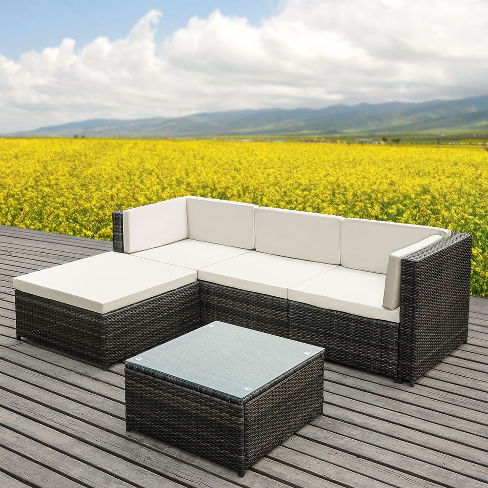 ikayaa fashion pe rattan wicker patio garden furniture sofa set sales online beige tomtopcom