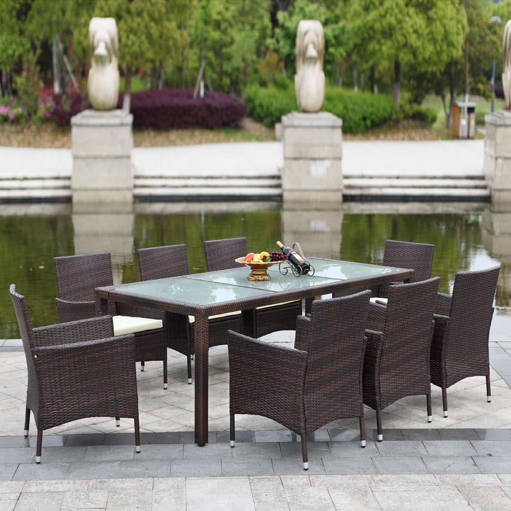 IKAYAA PCS Rattan Outdoor Patio Dinning Table Set Cushioned Sales - Outdoor patio furniture sets
