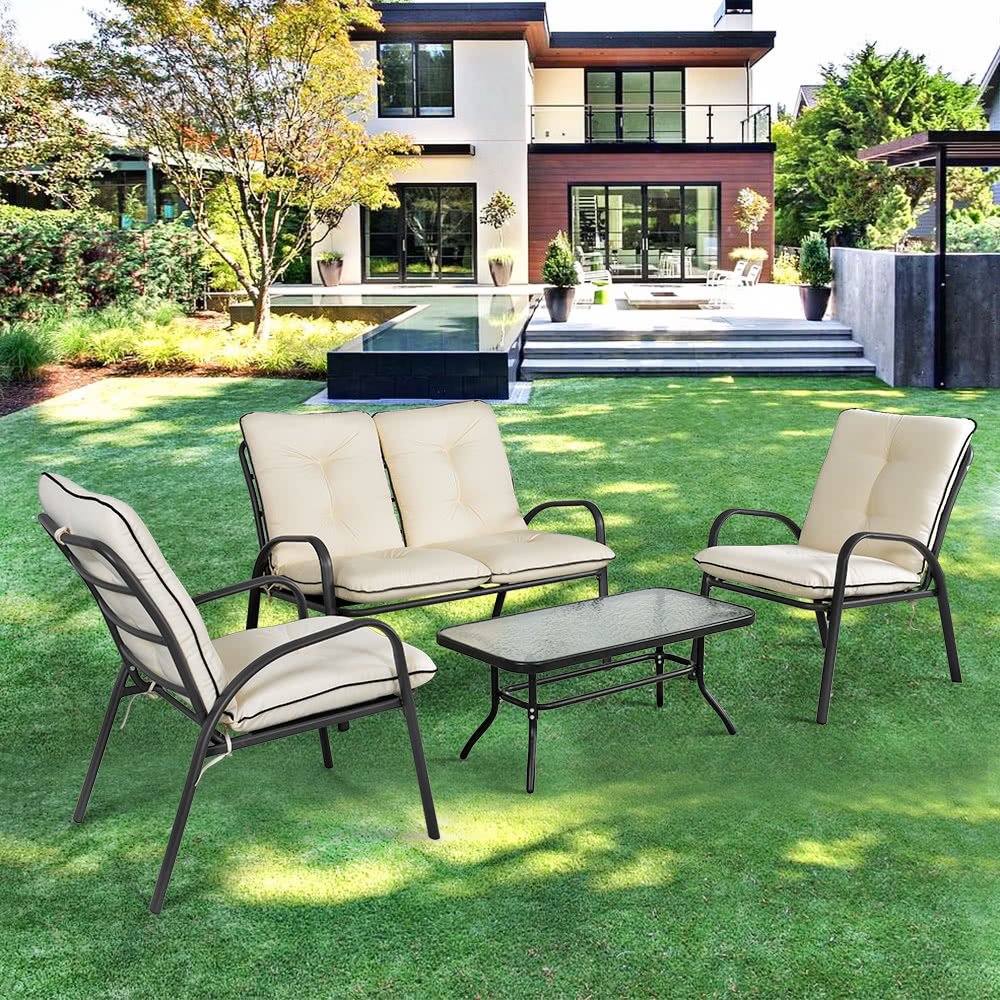 ikayaa fashion 4 pieces cushioned patio garden furniture sofa set tea table chairs pool outdoor conversation set steel frame