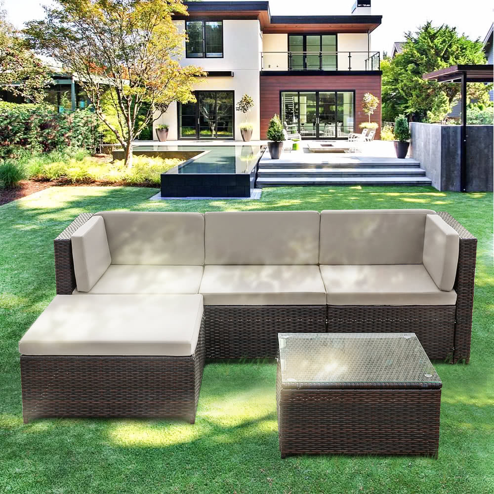 Rattan Table Set Part - 45: IKayaa Fashion PE Rattan Wicker Patio Garden Furniture Sofa Set W/ Cushions  Outdoor Corner Sofa Couch Table Set