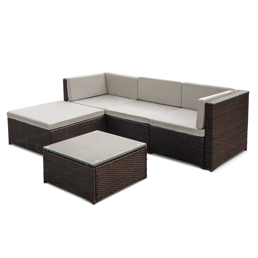 ikayaa fashion pe rattan wicker patio garden furniture sofa set w cushions outdoor corner sofa couch table set