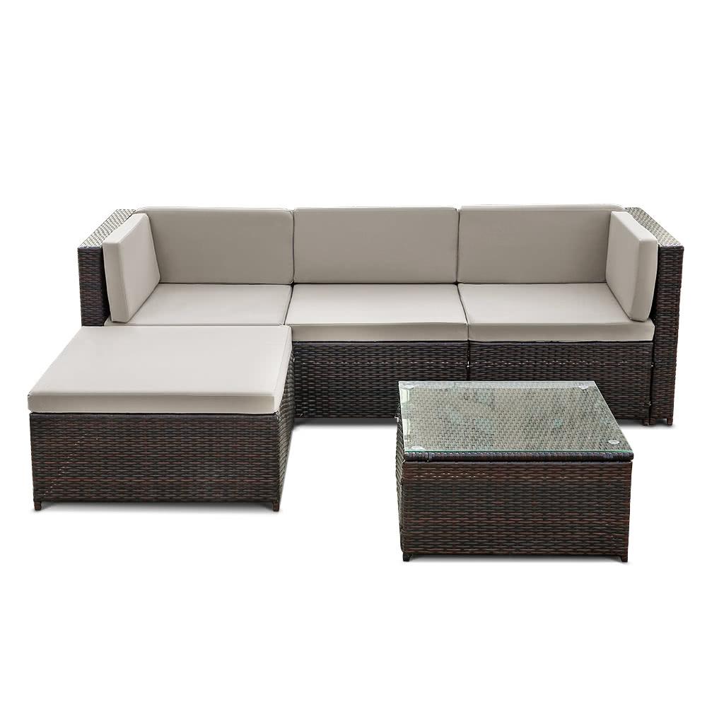 iKayaa Fashion PE Rattan Wicker Patio Garden Furniture Sofa Set