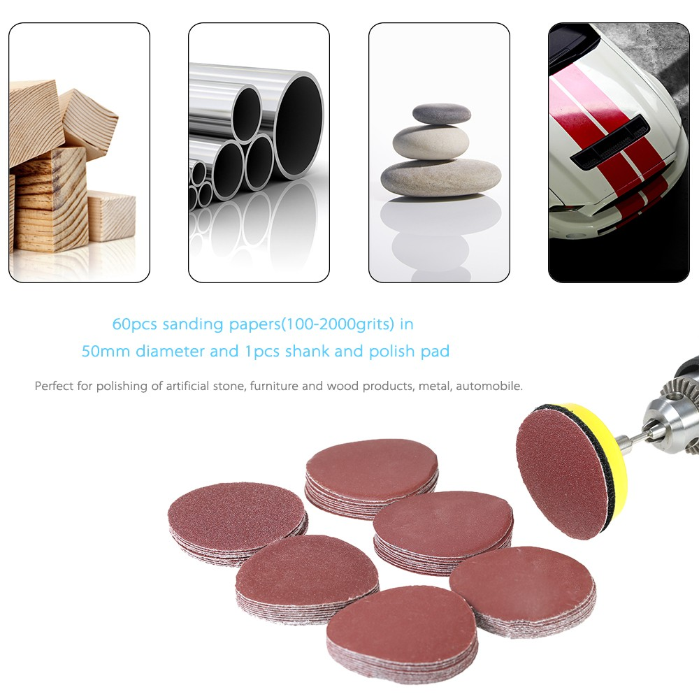 60PCS 50mm 2 Sander Disc Sanding Disk 100 2000 Grit Paper With 2inch