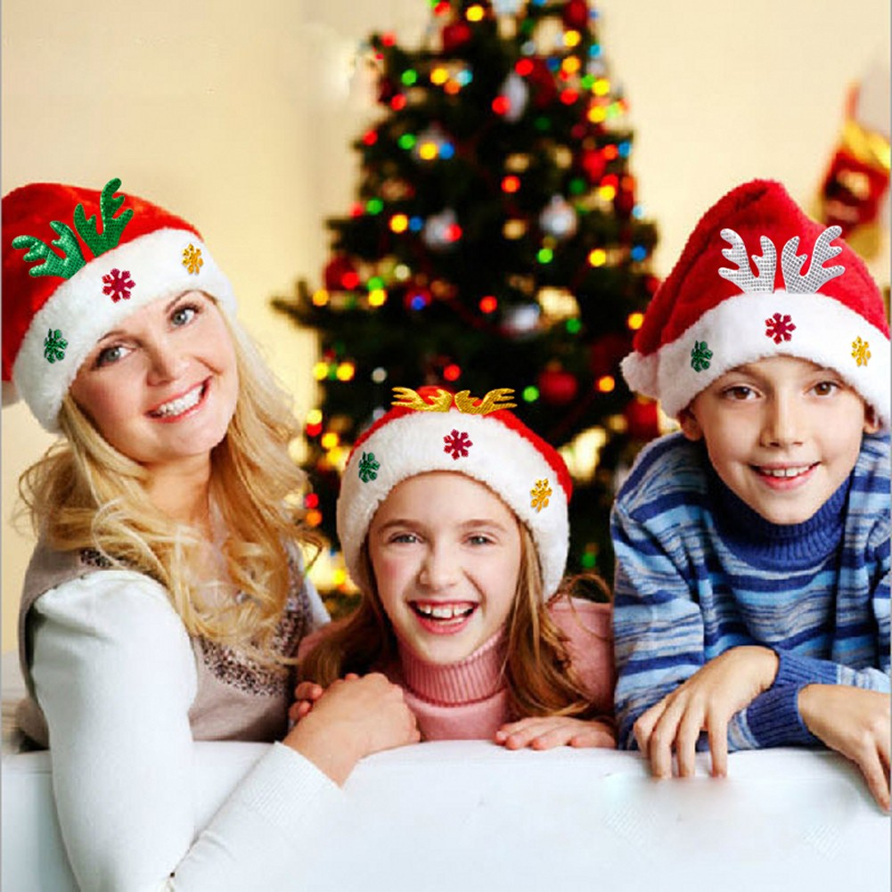 Christmas Hat Party Part - 41: Adult Kids Christmas Hat Santa Claus Hat Antler Snowflake Family Party Cap  Holiday Decoration Ornaments