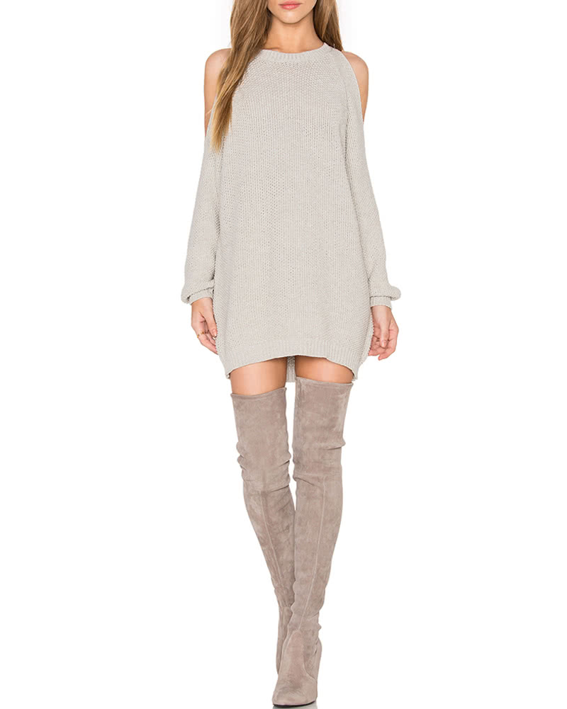 Women Knit Sweater Dress Off Shoulder O-Neck Long Sleeve Tunic ...