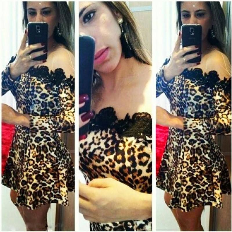 Леопардовые платья с кружевом