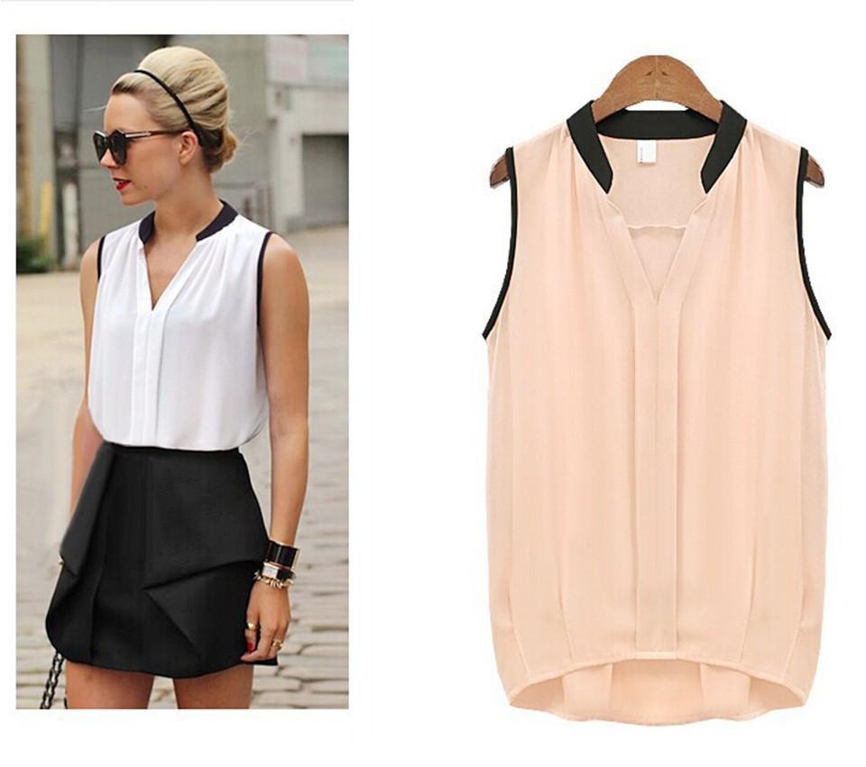 Модные блузки без рукавов женские