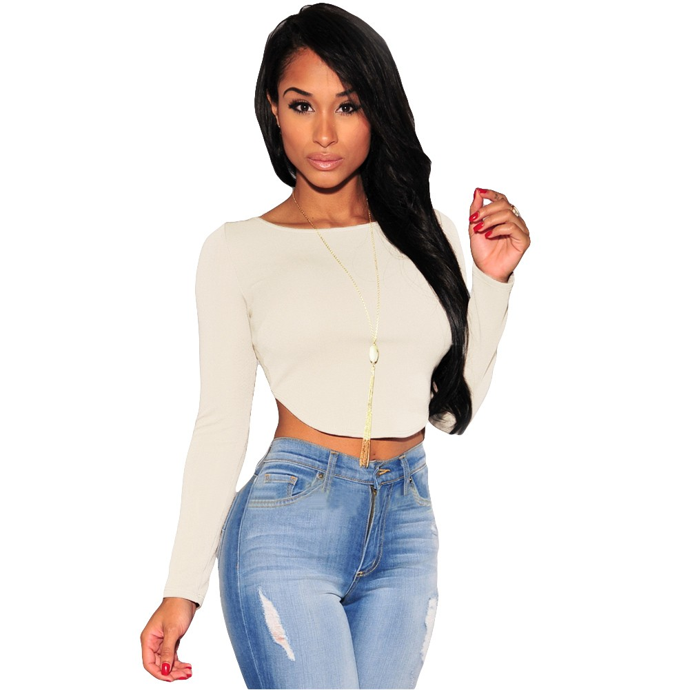 New Sexy Women Crop Top Long Sleeve O Neck Arched Back Zipper ...