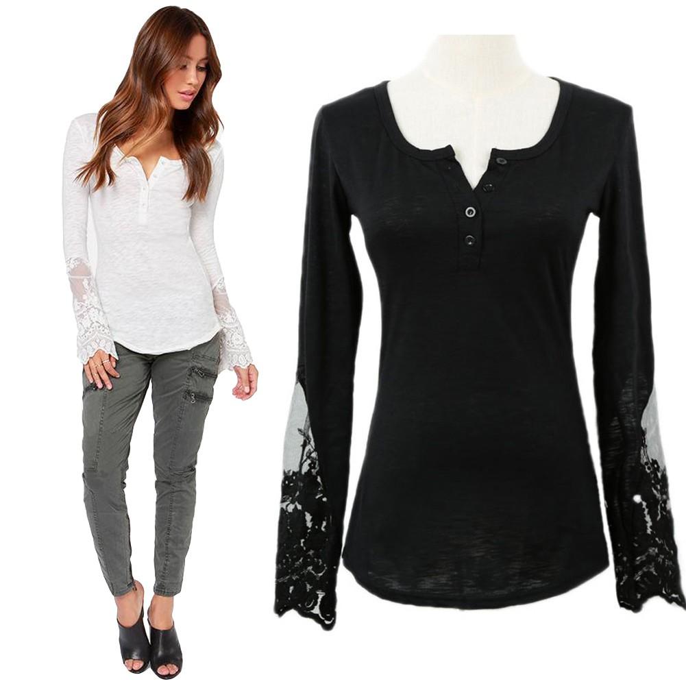 Casual Women Blouse Stitching Lace Mesh Splicing T-Shirt Long ...
