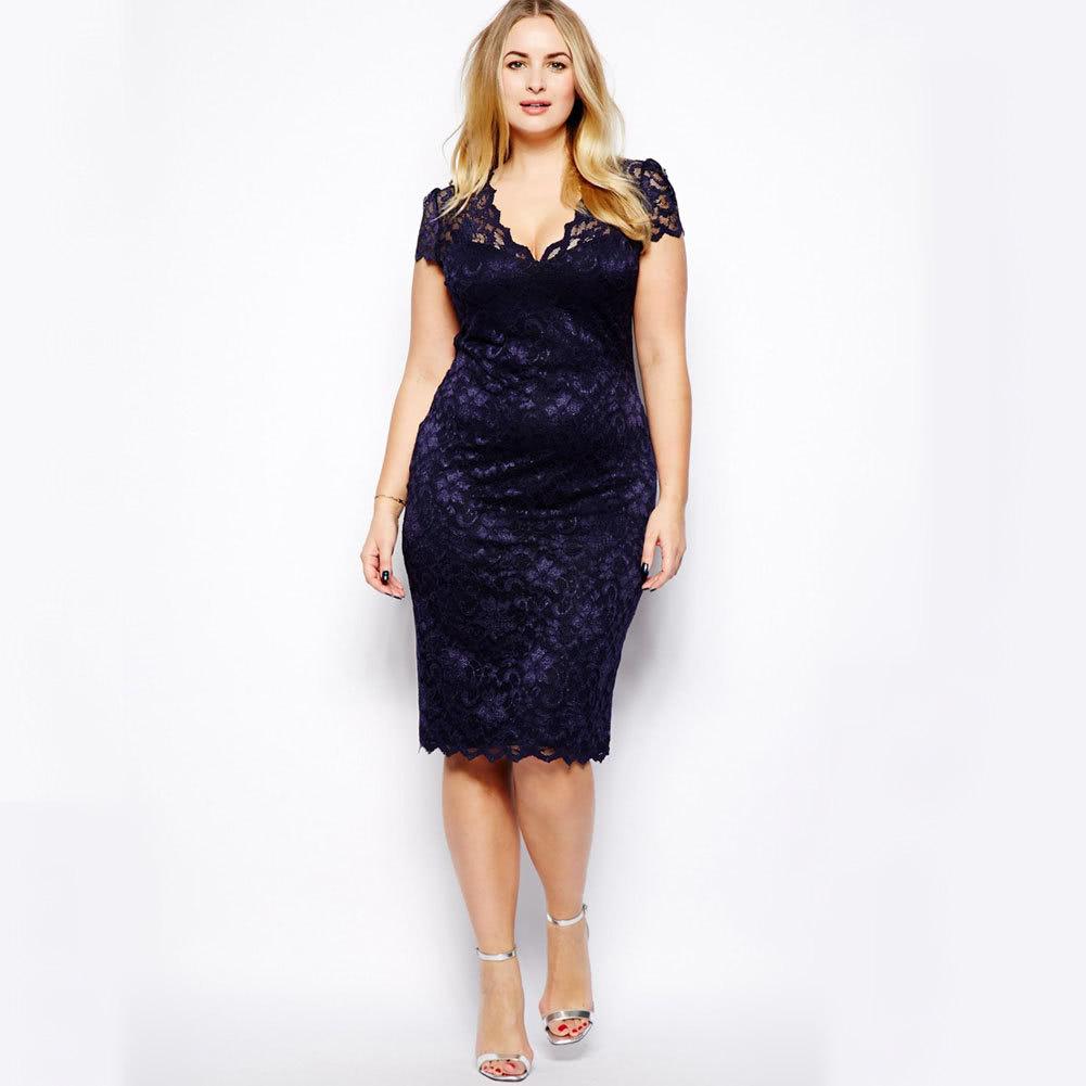 New Fashion Women Midi Dress V-Neck Floral Lace Plus Size darkblue ...
