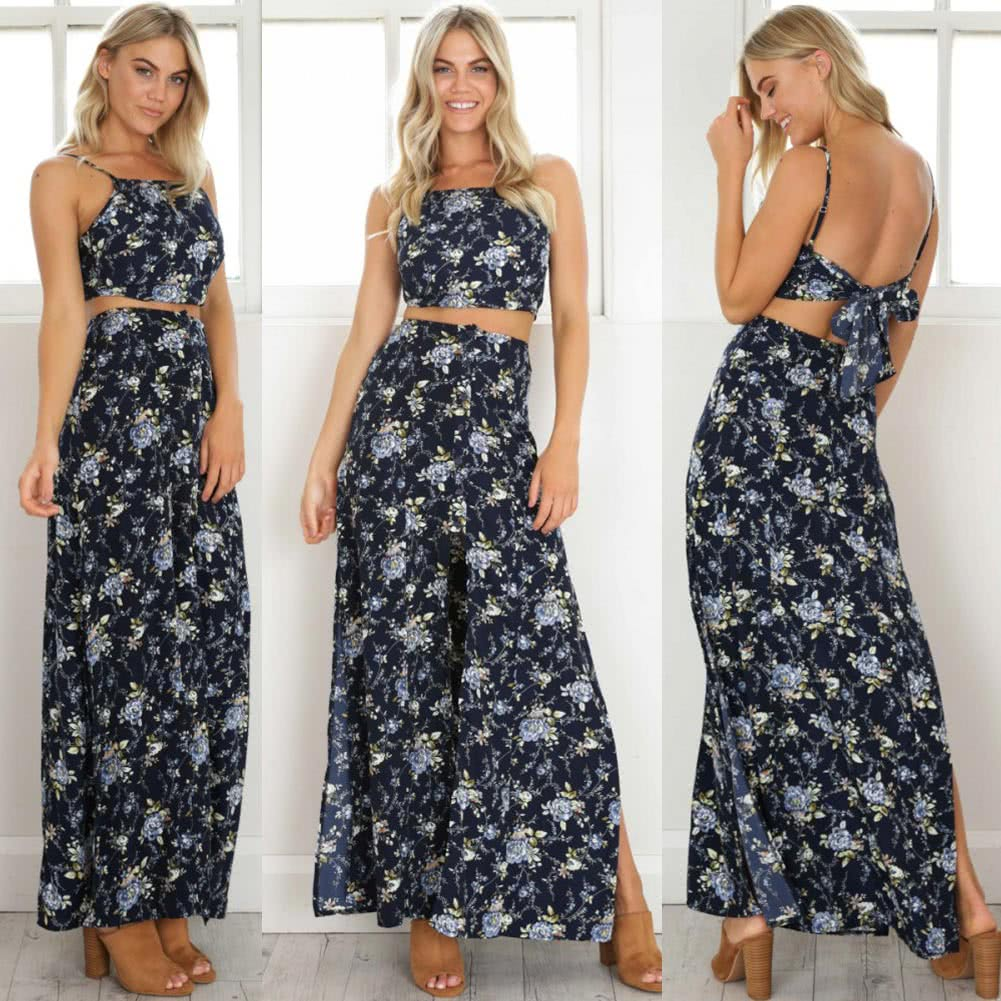 Vintage Women Two Piece Set Crop Top Long Skirt Floral Print ...