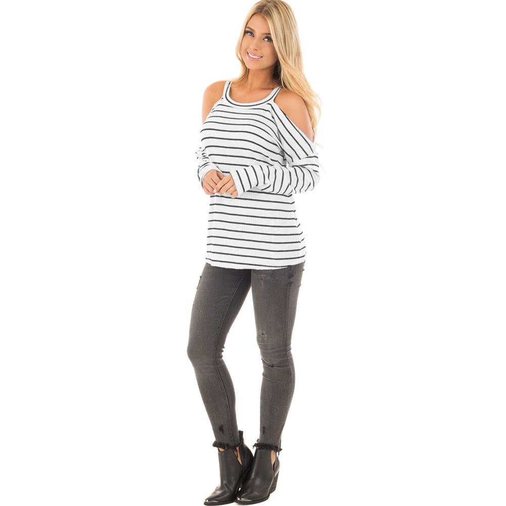 New Fashion Women Stripe T-shirt Sexy Off Shoulder O Neck Long ...