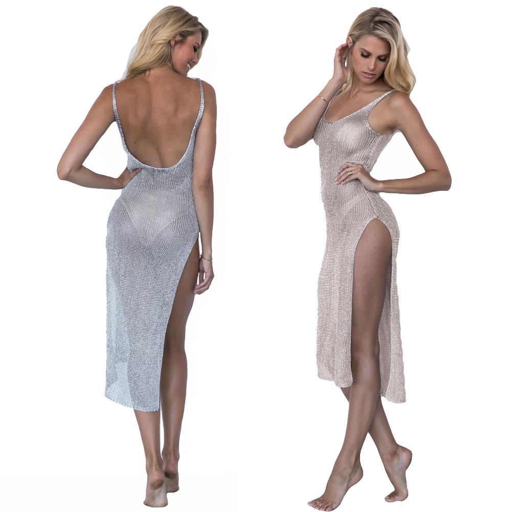 women bikini cover up semi sheer knitted glitter sleeveless plunging backless side split beach dress swimwear greypink - Semi Pro Halloween Costume